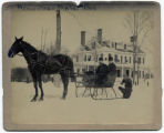 Horse and sleigh in front of house in winter, 1892, Morristown, NJ