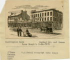 South Street, Washington Hall businesses, West Park Place and Market Street, 1878 graphic, ...