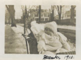Dehart Street, baby and houses, December 1910, Morristown, NJ