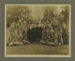 Burnham Park, girl scouts at dedication of chimney, 1915, Morristown, NJ
