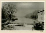 Speedwell Lake, old log dam, Speedwell hub factory, circa 1880, Morristown, NJ
