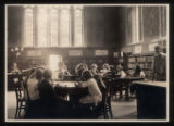 Morristown & Morris Township Public Library interior, librarian and children, 1917,...