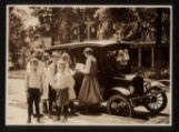 Morristown & Morris Township Public Library, Book Car and young patrons on South Street, 1922,...
