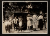 Morristown & Morris Township Public Library, bookmobile and patrons on South Street, early...