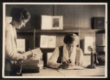 Morristown & Morris Township Public Library interior, librarians, early 20th century,...