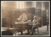 Morristown & Morris Township Public Library interior, 1 Miller Road, older man reading, 1923,...
