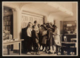 Morristown & Morris Township Public Library interior, librarian and group of children, 1922,...