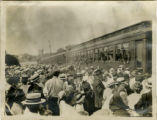 Soldiers in trains, leaving town for Sea Girt, WWI, 07/25/1917, Morristown, NJ
