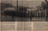 Battery F in formation, 1st N. J. Field Artillery, Morris and Pine Streets, 7/25/1917, Morristown,...
