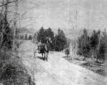Dover Ridge Farms, top of Sylvan Drive, horse drawn carriage with rider, ca.1900, Morris Plains, NJ