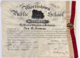 Morristown Public School diploma, 1902, Morristown, New Jersey