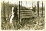 Jockey Hollow, soldier's hut, view from backside, ca. 1930, Morristown, NJ