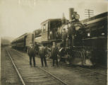 Engine number 907 and group of men, not dated, Morristown, NJ