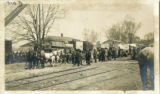 Circus unloading at Morristown & Erie railroad station, circa 1895, Morristown, NJ