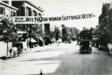 Banner urging men of New Jersey to reject Women's Suffrage, 1915, Morristown, NJ