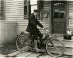 Albert E. Curtiss on his Indian motorcycle, 04/26/1908, Morristown, NJ