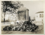 World War I  Memorial Marker, view from right side, flowers at base, Vail Mansion (Morristown City...
