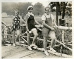 Catherine Bolton, E Bolton, and Ruth Oberg by wood fence, 08/10/34, Mt. Tabor, NJ
