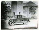 Morristown street department truck in front of the Morristown Presbyterian Church, 06/12/29,...