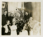 Group, Curtiss family by Christmas tree, 12/23/1905, Morristown, NJ
