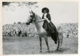 Woman on a horse, at pageant, 07/05/26, Chatham, NJ