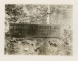 Morris Aqueduct stone slab at Court street, 11/03/1903, Morristown, NJ