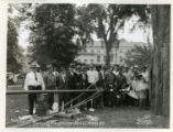 Raising of a new flag pole in a park, 05/29/37, Morristown, NJ
