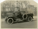 Fire truck, Morristown Fire Dept., Warden's auto, William Ridge on seat, Park Place East,...