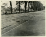Trolley Tracks and houses on Main Street, where man was killed 5/19/1924, Madison, NJ