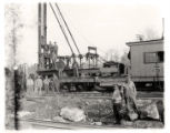 Railroad station, pile driver, Delaware, Lackawanna and Western R.R.and men, 12/12/1912,...