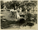 Morristown Green, workers sectioning fallen telephone pole, 9/20/1933, Morristown, NJ