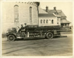 Firetruck, Morristown Fire Department,on Park Place East,  in front of First presbyterian Church,...