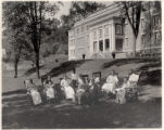All Souls Hospital, convalescing patients on front lawn, 07/24/1924, Morristown, NJ