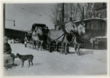 Standard Oil truck drawn by horses, street in winter, 2/9/1920, Morristown, NJ