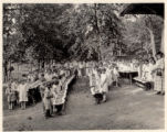 Neighborhood House Picnic at Burnham Park, children at tables, Morristown, NJ