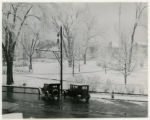 Morristown Green, winter scene with cars, 11/25/1925, Morristown, NJ