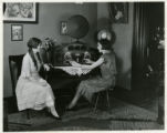 Individuals, Irene and Mabel in Curtiss parlor with radio, 12/6/1925, Morristown, NJ