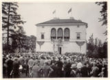 Vail Municpal Building with crowd in front for telephone company, 07/09/1927, Morristown, NJ