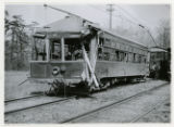 Trolley car showing damage from collision involving Morris County Traction Company, 5/1/1926,...