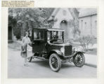 Individuals, Irene Sturtevant with Curtiss' car, 5/15/1926, First Church Chapel, Park Place,...