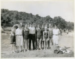 Burnham Park, group at swimming pool, 08/19/1928, Morristown, NJ