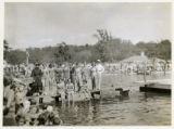 Burnham Park water carnival, group of swimmers, 7/14/1935, Morristown, NJ