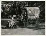 Girl Scouts in covered wagon, 5/16/1936, Morristown, NJ