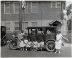 Group of children outside Baptist Church, 07/27/1925, Morristown, New Jersey
