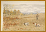 "Print, color chromolithograph, ""Quail-A Dead Stand"", from Shooting Pictures, by Scribner..."