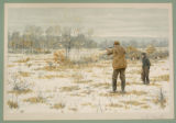 "Print, color chromolithograph, ""Rabbit Shooting"", from Shooting Pictures, by Scribner..."