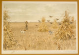 "Print, color chromolithograph, ""Prairie Chickens"", from Shooting Pictures, by Scribner..."
