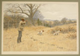 "Print, color chromolithograph, ""Quail Shooting"", from Shooting Pictures, by Scribner..."