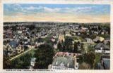Morristown, aerial view, looking east down King Street towards train depot, circa 1910,...