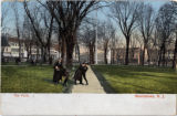 Morristown Green, circa 1900, boys on sidewalk, view facing north, Morristown, NJ